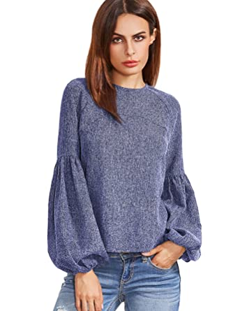 ce665a48d68c9 Verdusa Women s Round Neck Elegant Blouse Lantern Sleeve Top With Keyhole  Back Blue XS