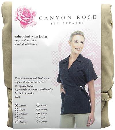 Canyon Rose Wrap Front Salon Esthetician Jacket, Linen, XS