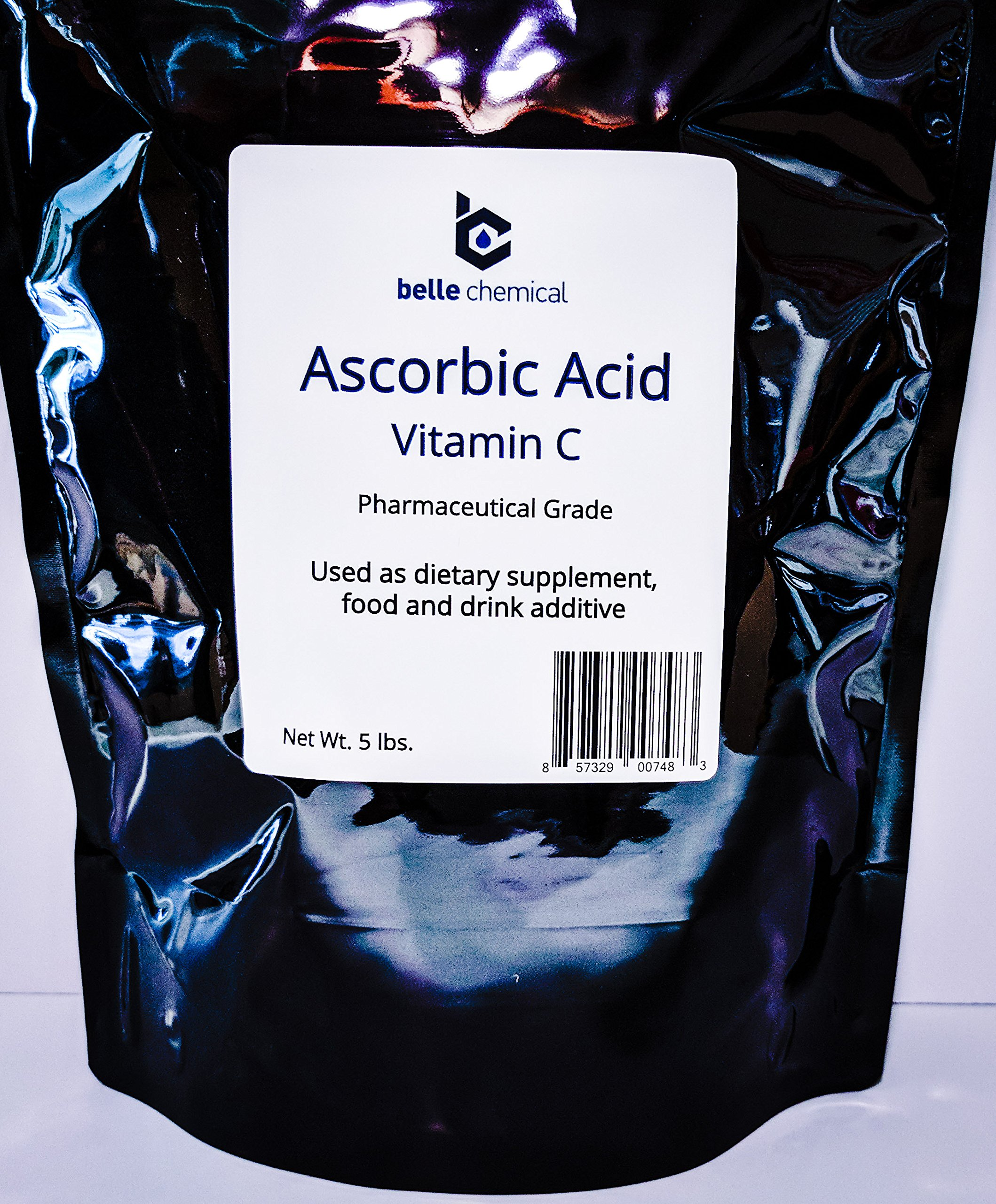 Pure Ascorbic Acid (Vitamin C) Pharmaceutical Grade, Non-GMO, Soy/Peanut Free (5 Pound (2,270g))