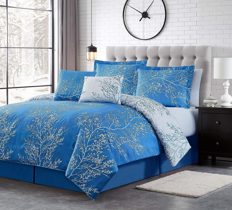 Spirit Linen 6pc Warm and Cozy Comforter Set Platinum Bedding Collection Baby Soft Texture Plush Bed Blanket (Light Blue, Queen)
