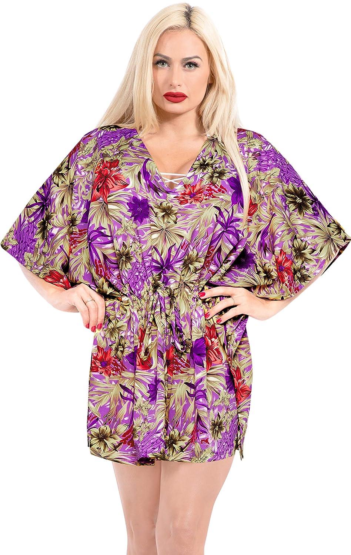 LA LEELA Bikini Swim Beach wear Swimsuit Cover ups Women Kimono Dress Printed
