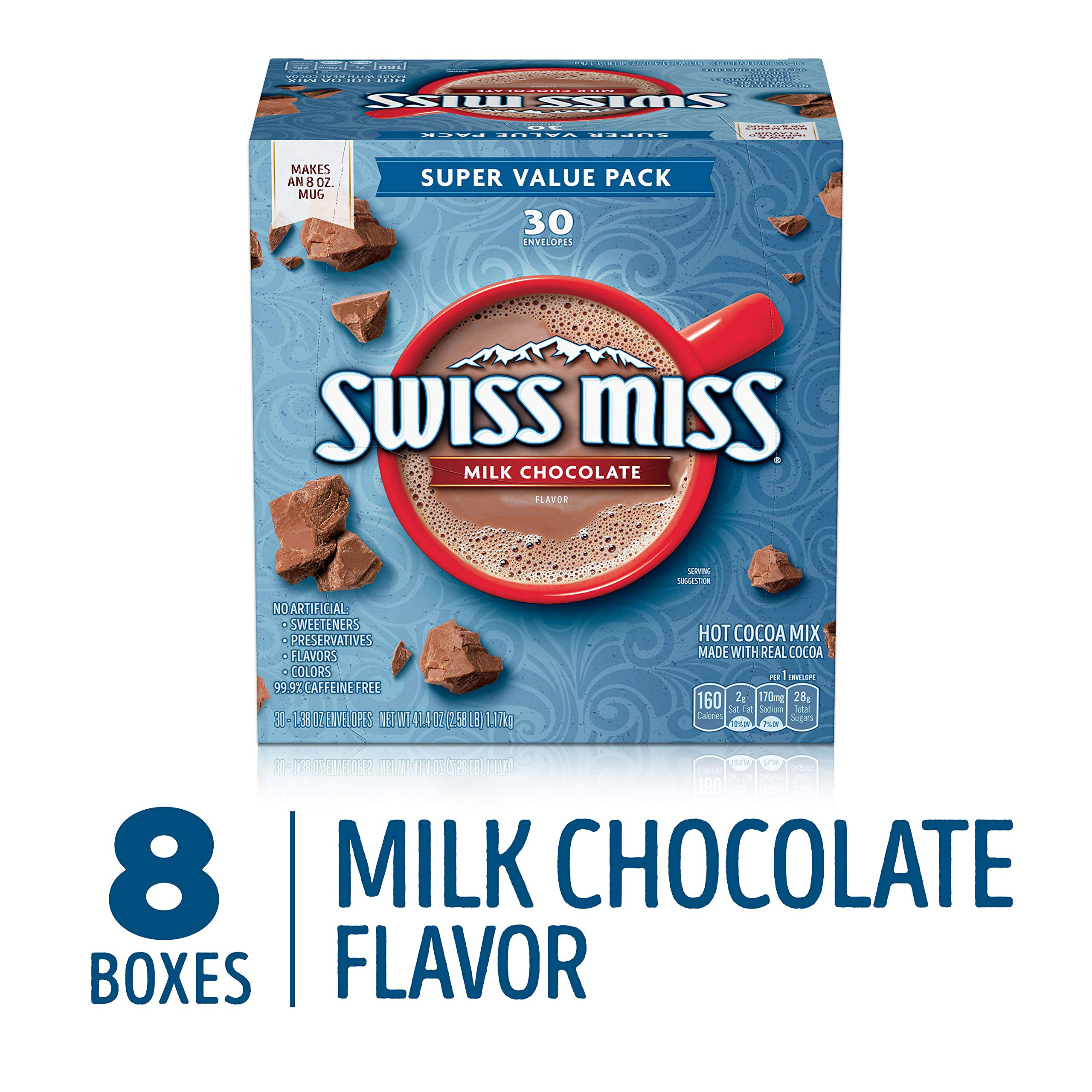 Swiss Miss Milk Chocolate Flavor Hot Cocoa Mix, 30Count 41.4 oz 8 Pack by Swiss Miss (Image #1)