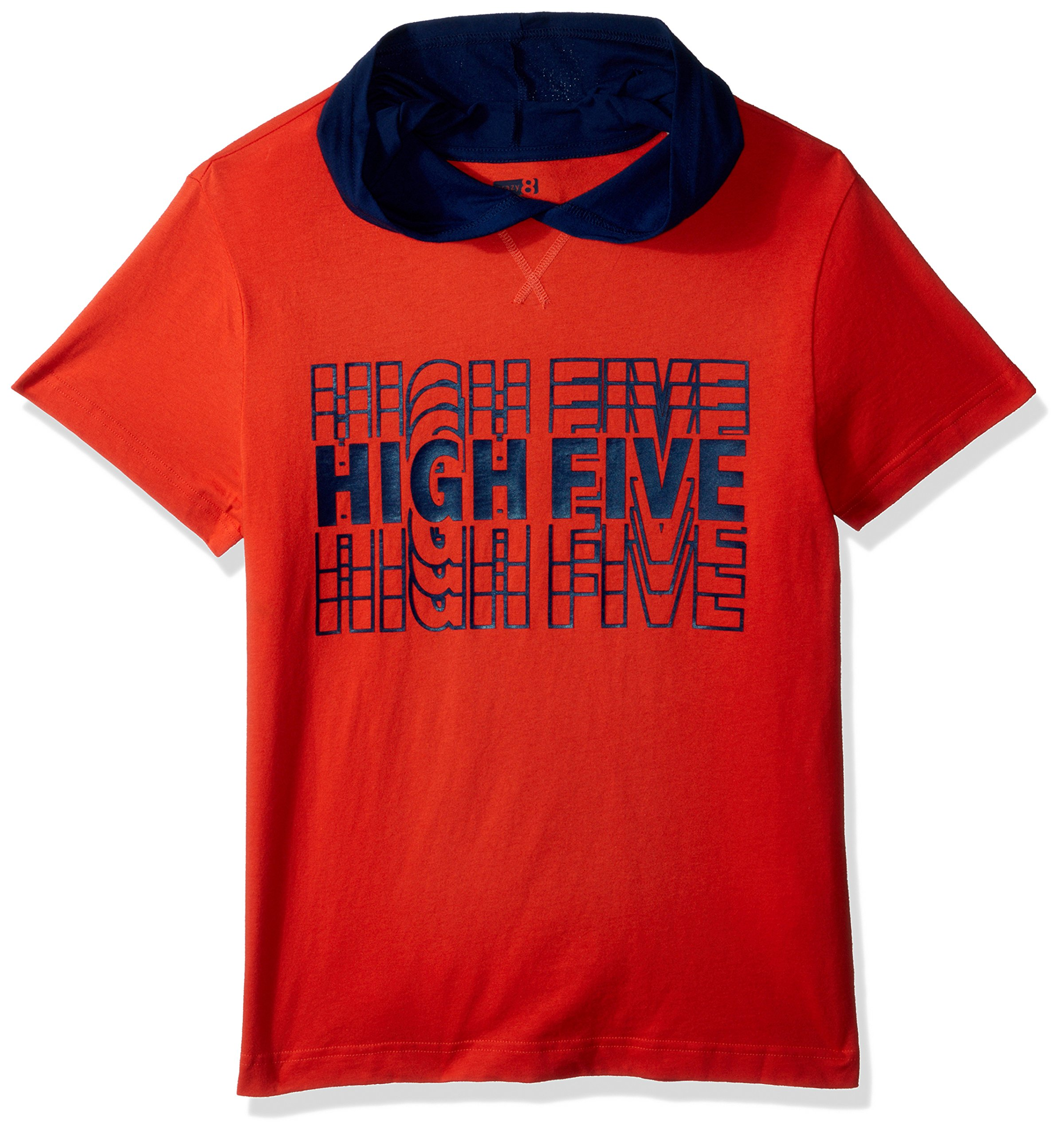 Crazy 8 Boys' Short Sleeve Hooded Tee, Orange High Five, Little Kid