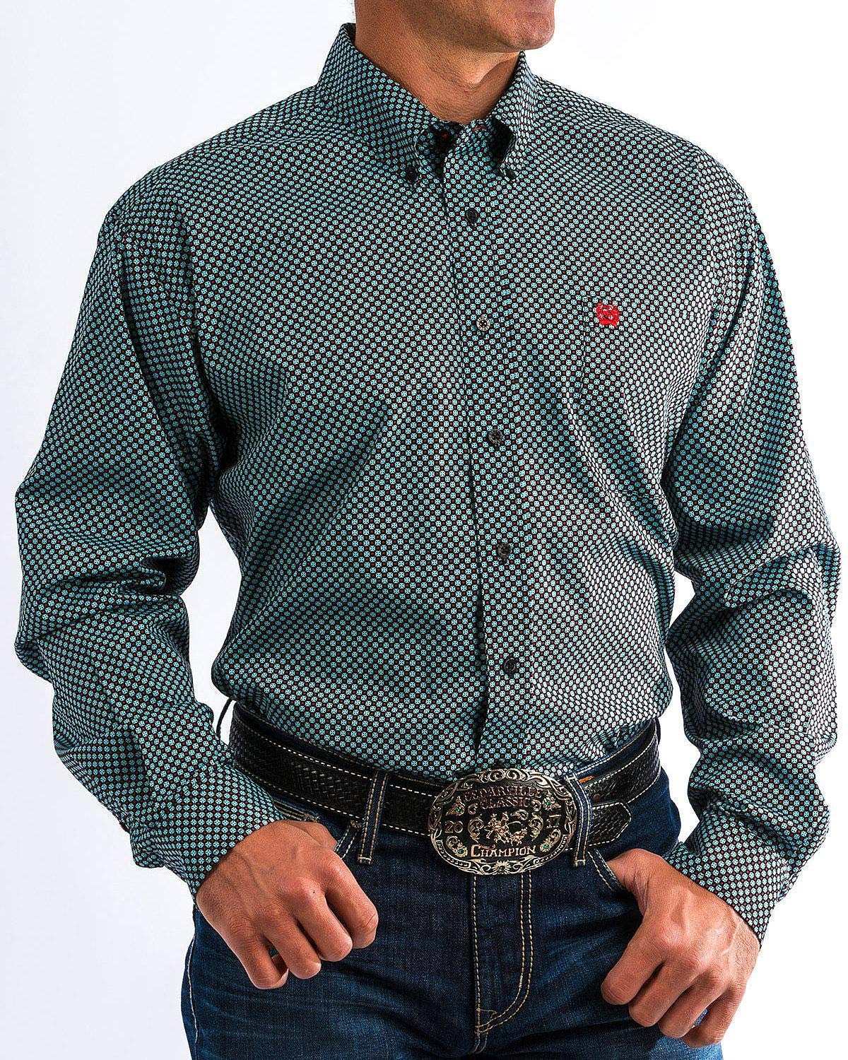 Cinch Men's Classic Fit Long Sleeve Button One Open Pocket Print Shirt, Teal/Black/Red, XL