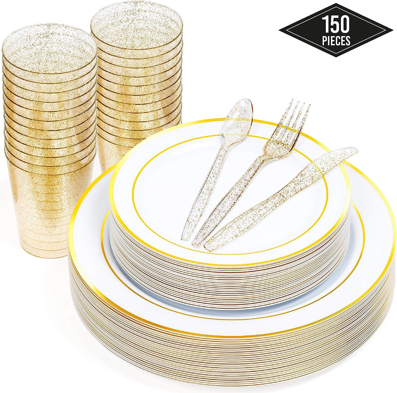 150 Piezas - 50 Elegante Platos Plástico Duro Desechables con Borde Oro (2 Tamaños)| 25 Cucharas 25 Tenedores 25 Cuchillos, 25 Vasos - Robusto, Resistente y Reutilizable| Cumpleaños Fiestas Bodas.