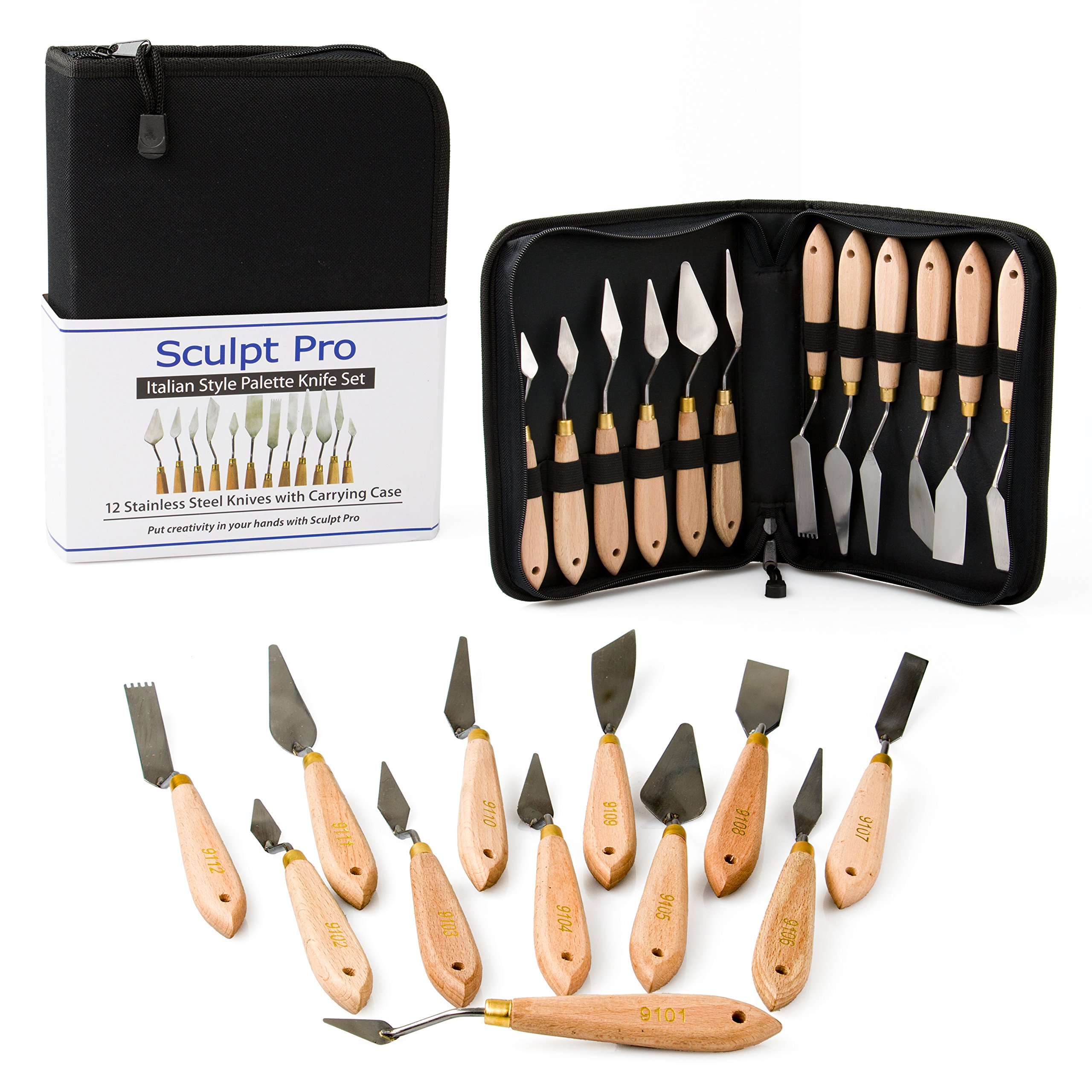 Sculpt Pro Palette Painting Knife Set- 12 Stainless Steel Art Palette Knives with Carrying Case by Sculpt Pro