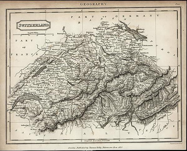 Switzerland Mountain Ranges Alps Lakes Cities scarce 1823 antique ...