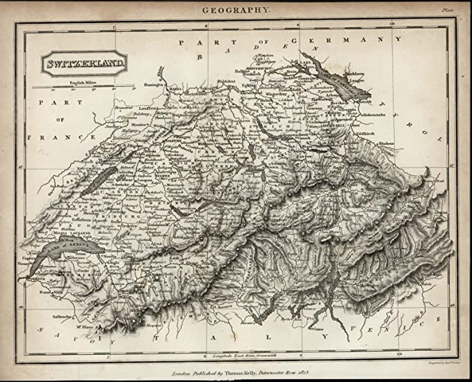 Switzerland Mountain Ranges Alps Lakes Cities scarce 1823 ...