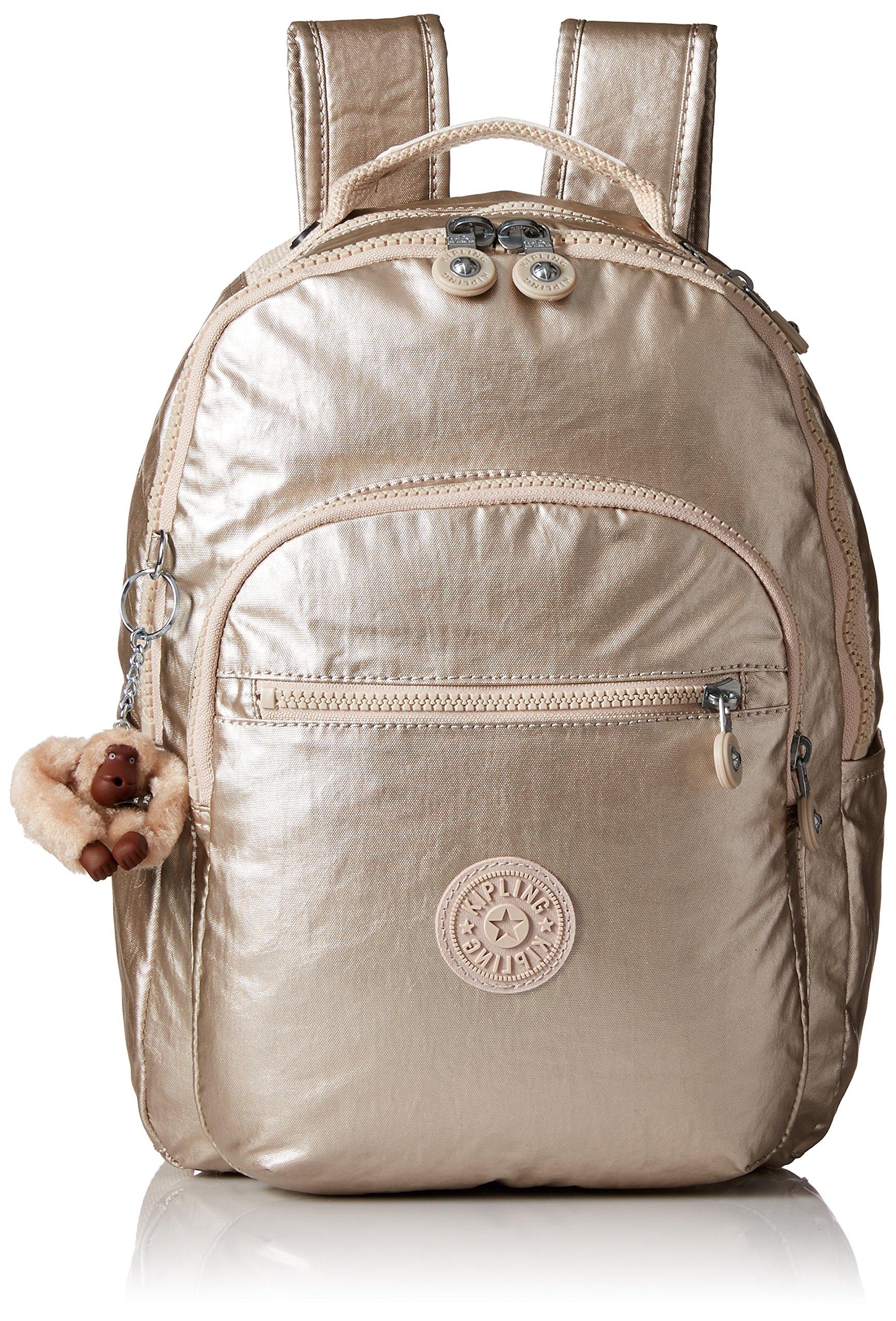 Kipling Women's Seoul S Metallic Backpack, Sparkly Gold