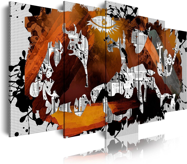 DekoArte 0427 Cuadros Modernos Impresión de Imagen Artística Digitalizada, Lienzo Decorativo para Tu Salón o Dormitorio, Estilo Abstractos Arte Picasso Guernica, multi marrones, 5 piezas (150x80x3cm)
