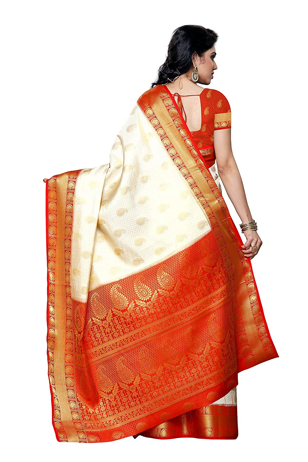 Mimosa womens silk saree 225 hwt redoff whitefree size amazon mimosa womens silk saree 225 hwt redoff whitefree size amazon clothing accessories fandeluxe Image collections