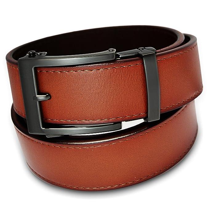 Men's Holeless Leather Ratchet Click Belt - Trim To Perfect Fit