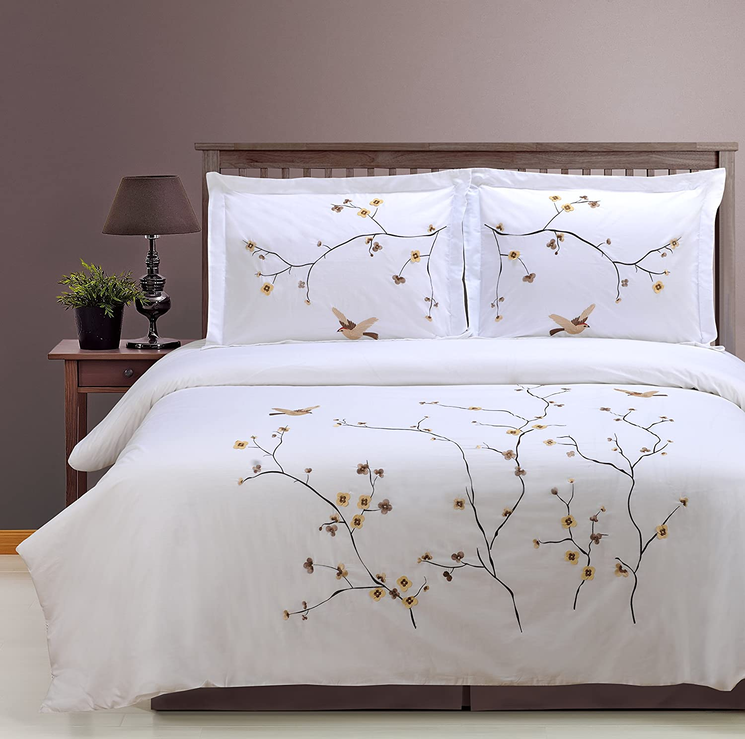 Blossom Full Queen Superior 100% Cotton Percale Embroidered 3-Piece Duvet Cover Set, King California King, bluee Swallow
