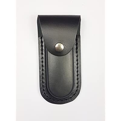 Étui de cuir de bovin de première qualité (vachette). Traitement traditionnel – Étuis en cuir pour couteau de poche (Noir)
