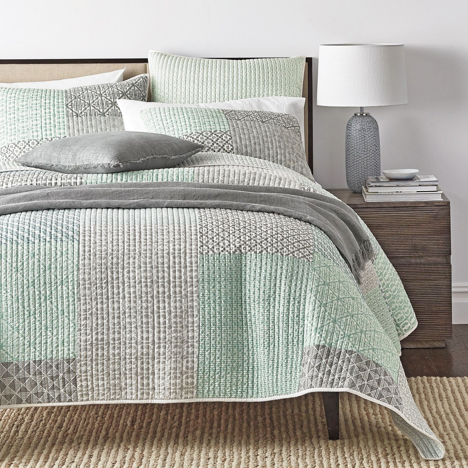 Amazon.com: DaDa Bedding Contemporary Bedding Set - Mint Green Grey  Geometric Patchwork - Quilted Coverlet - Queen - 3-Pieces: Home & Kitchen