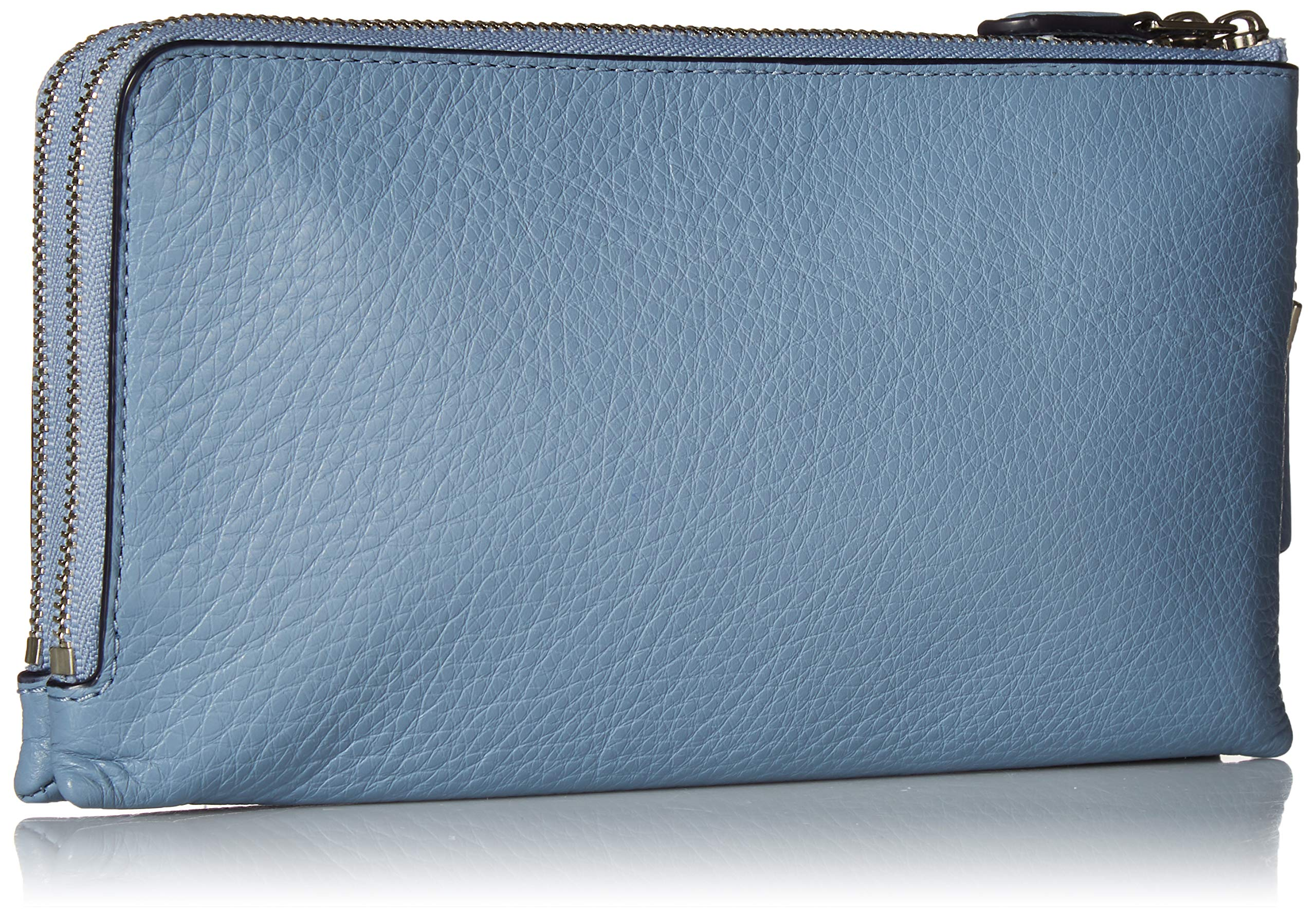 COACH Women's Pebbled Leather Double Zip Wallet Sv/Pool One Size