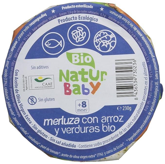 Natur Baby Puré Ecológico de Merluza con arroz y verduras para Bebé - Paquete de 12