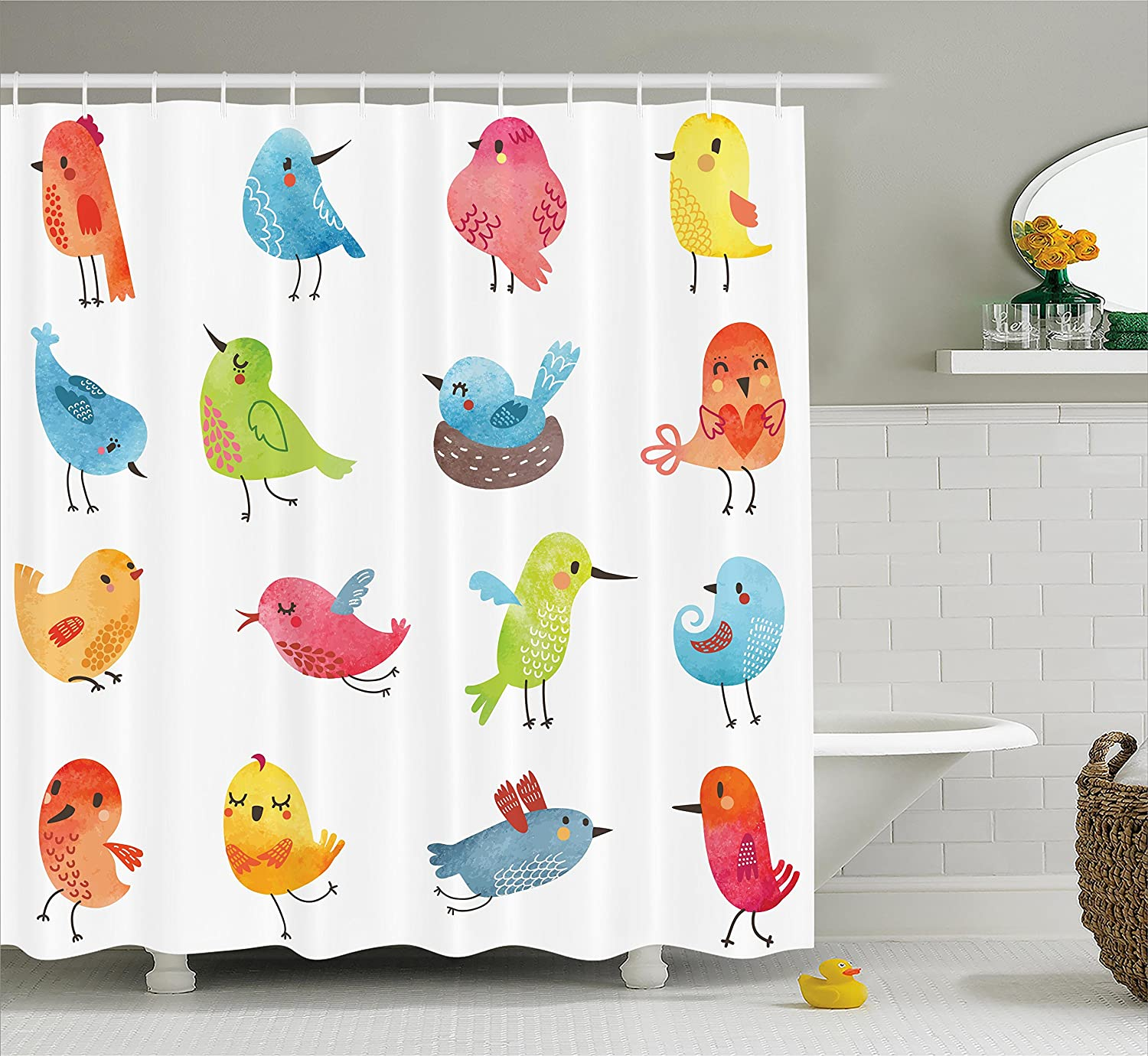 Ambesonne Animal Shower Curtain Colorful Cute Birds Watercolor Effect Humor Funny Mascots Paint Brush Art Kids Design Fabric Bathroom Decor Set With Hooks