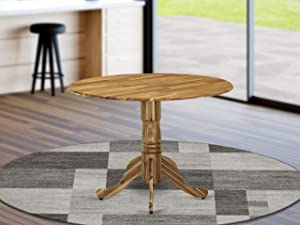 DLT-ANA-TP Dublin Dining Table Made of Acacia Wood with Two 9 Inch Drop Leaves, 42 Inch Round, Wood Texture