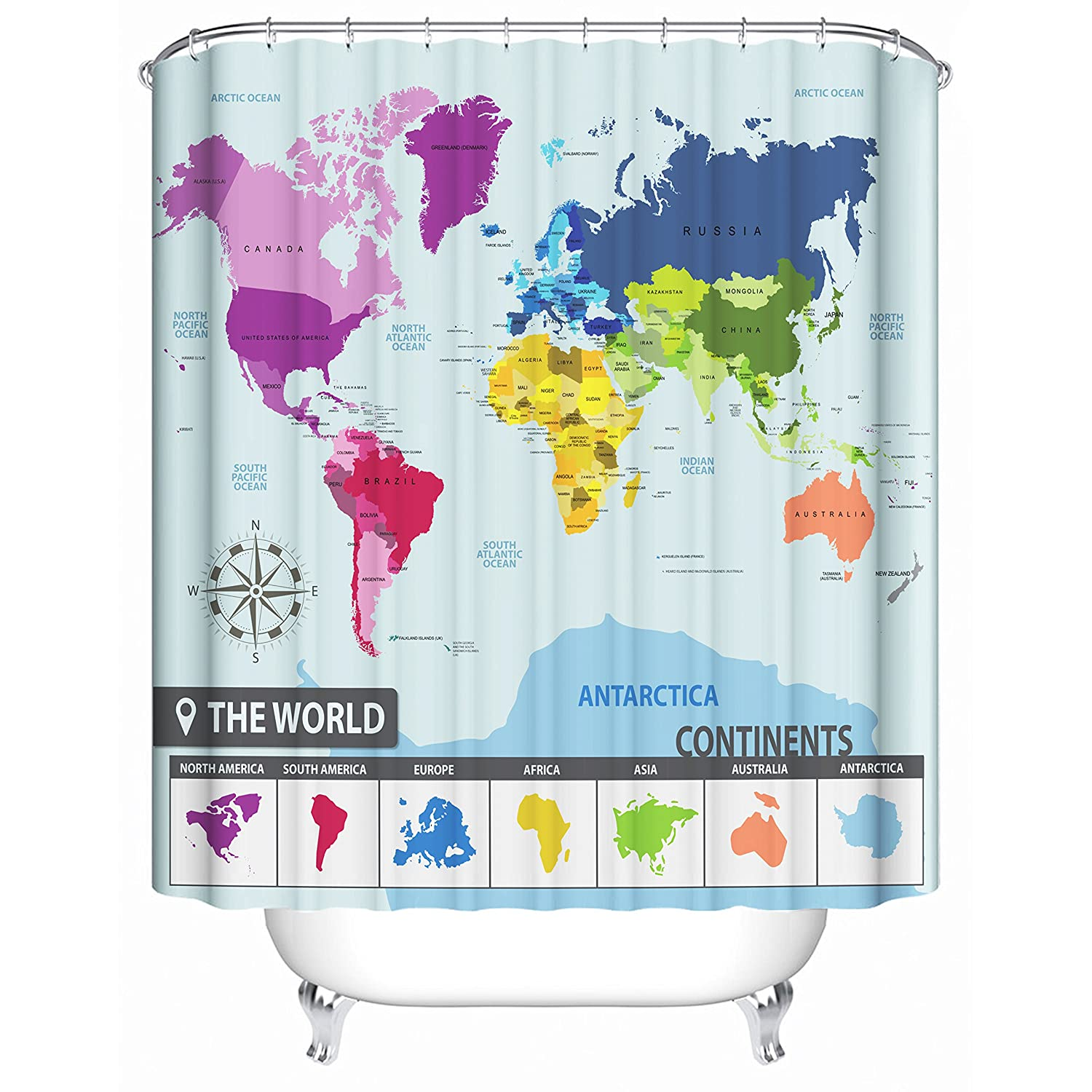 Amazon world map shower curtain 71 x 71 inches with 12 sturdy amazon world map shower curtain 71 x 71 inches with 12 sturdy hooks premium quality woven polyester fabric colorful maps of countries and 7 gumiabroncs Gallery