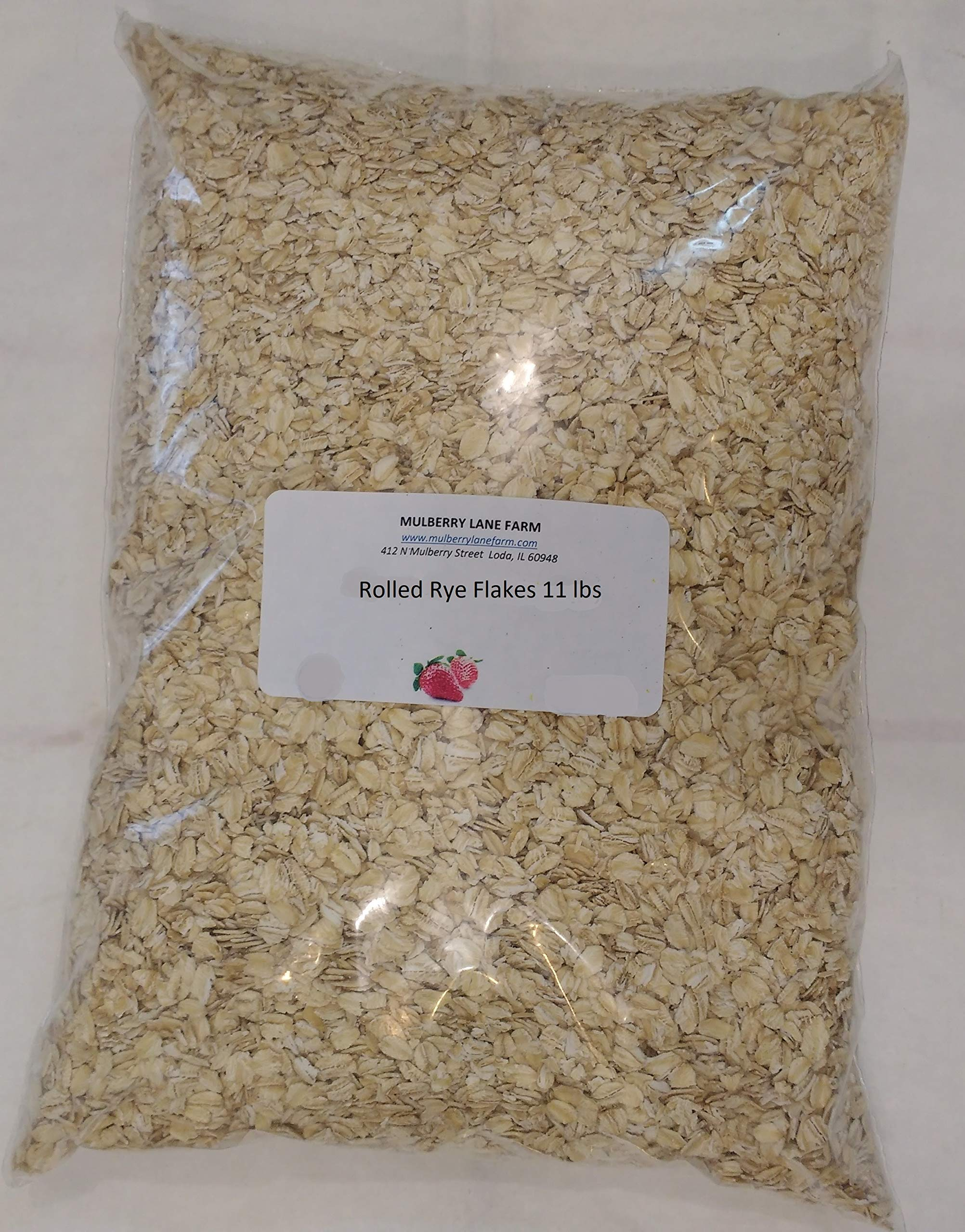 Rolled Rye Flakes, 11 Pounds (Eleven lbs), Creamy Hot Cereal, All Natural, Non-GMO, BULK.