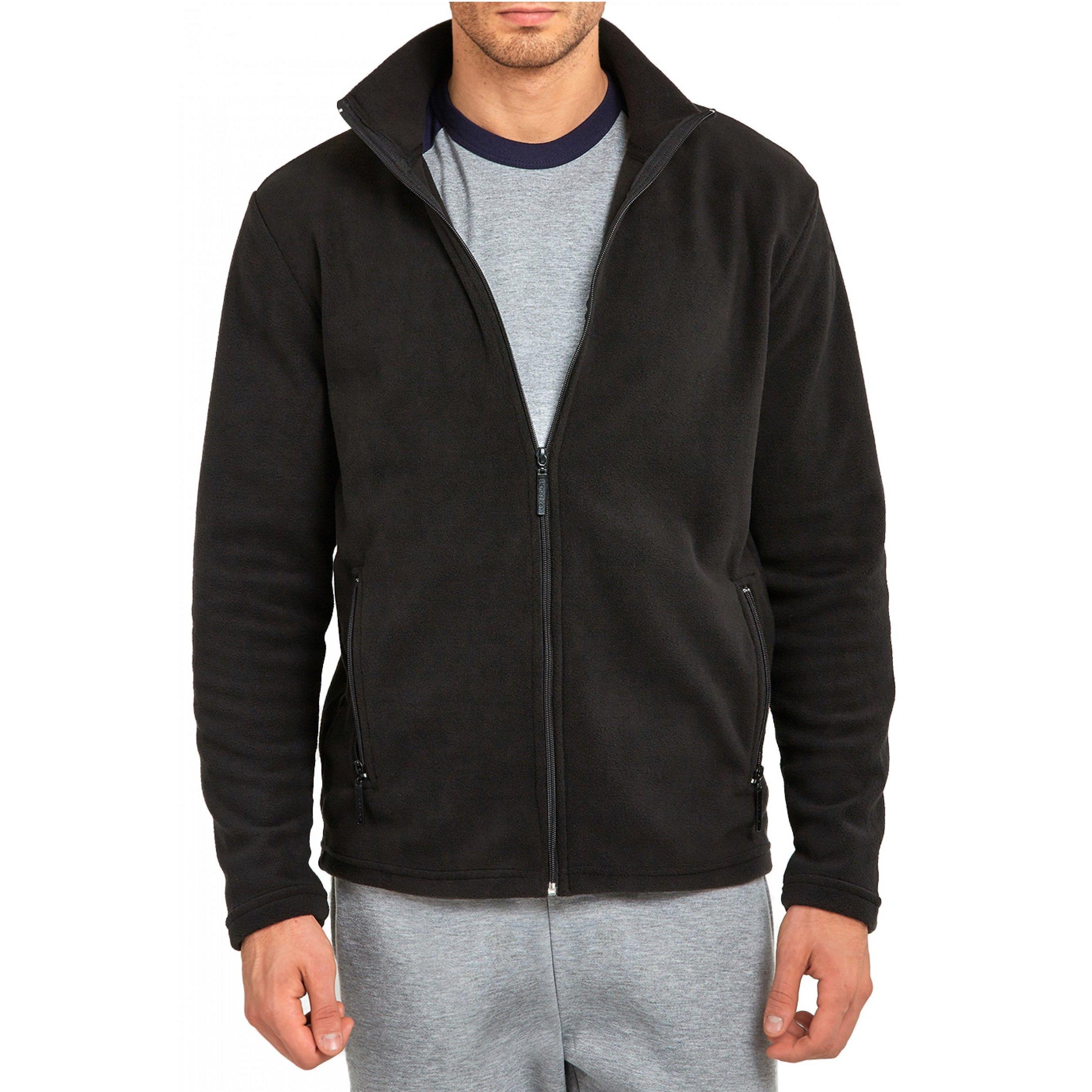 Mechaly Men Classic Full Zip Long Sleeve Polyester Polar Fleece Jacket (Black, XLarge)