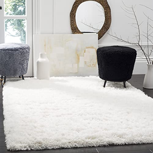Safavieh Polar Shag Collection PSG800B White Area Rug, 4 x 6