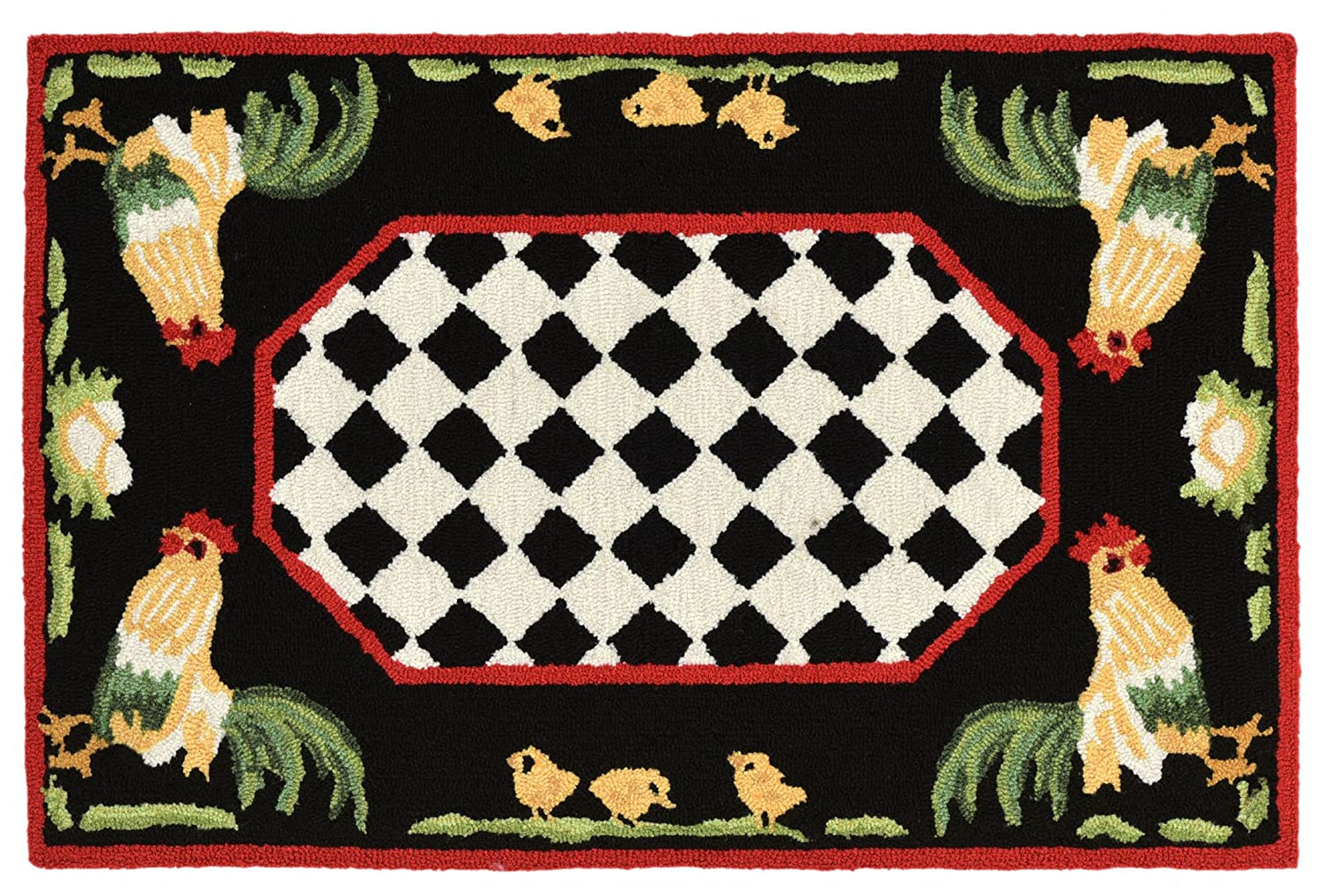 "AREA RUGS - ""FRENCH COUNTRY ROOSTER"" INDOOR OUTDOOR RUG - 24"" x 36"""