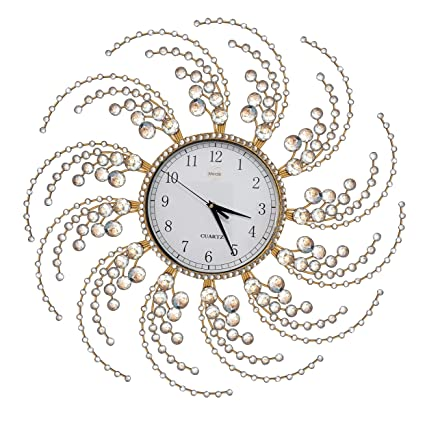 Amazoncom Wall Clock Large Metal Crystal Decorative Circle Fancy