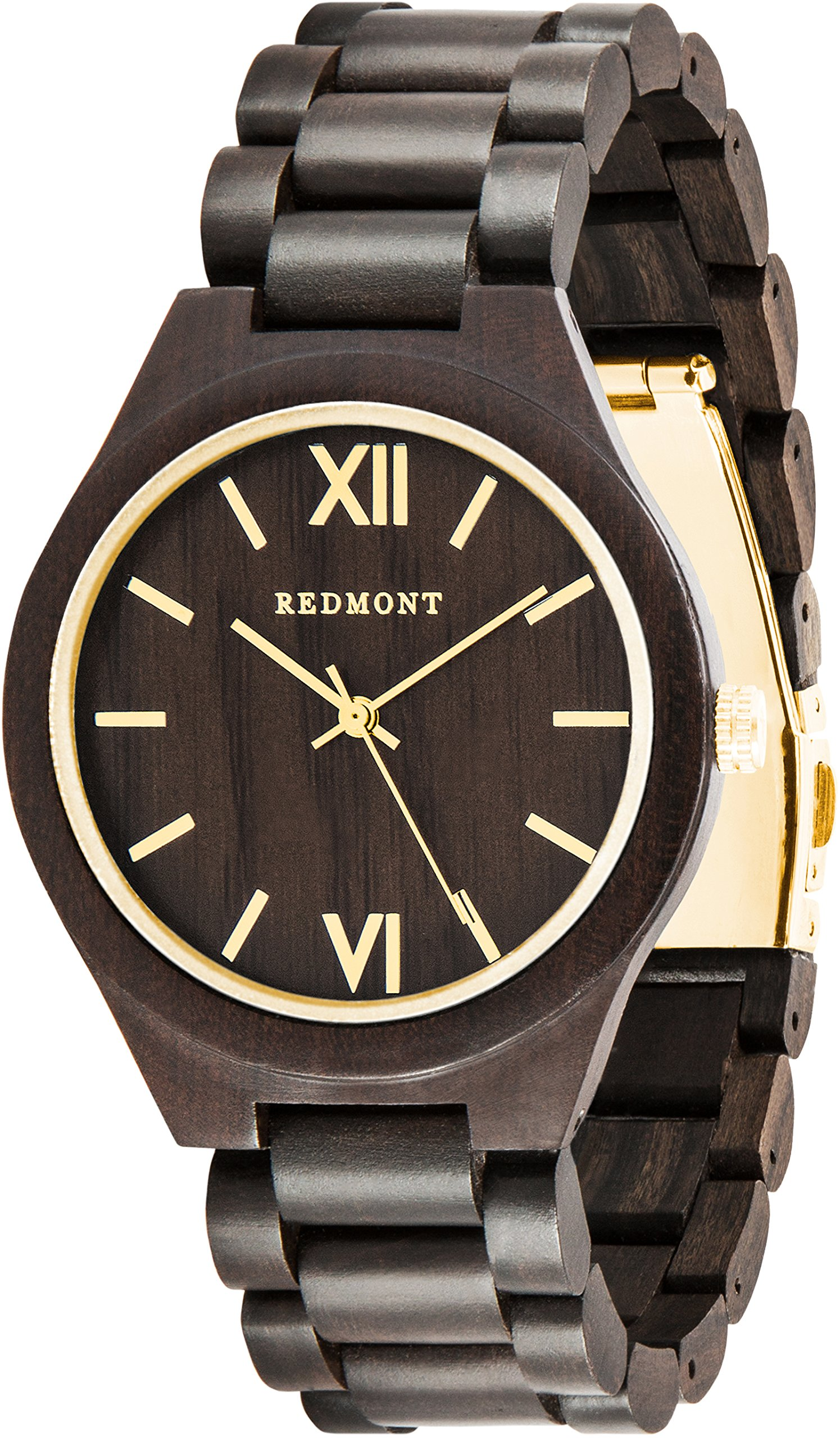 OLIVER REDMONT Wooden watch from genuine sandalwood | Exclusive wooden gift packaging (GOLD EDITION)