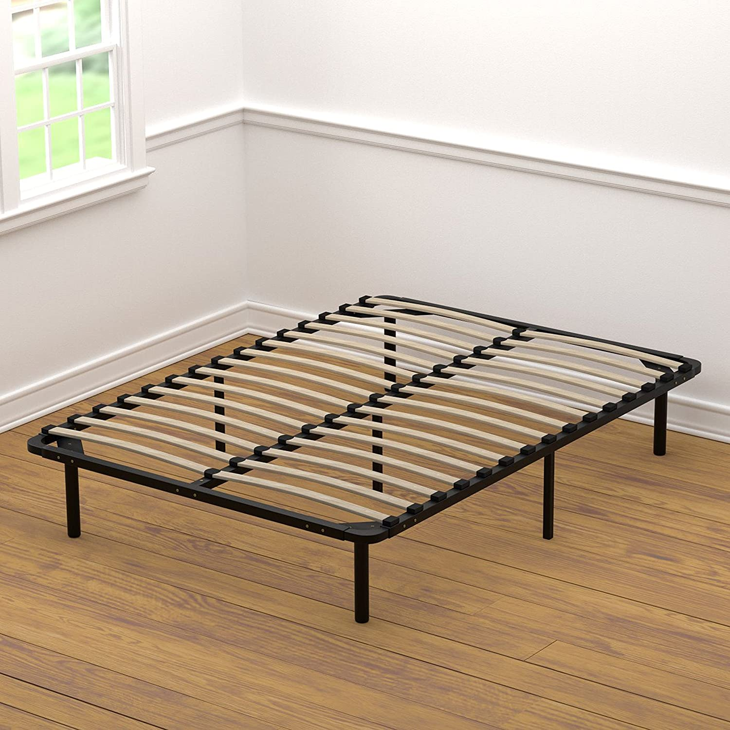 Amazon.com: Handy Living Platform Bed Frame - Wooden Slat Mattress ...
