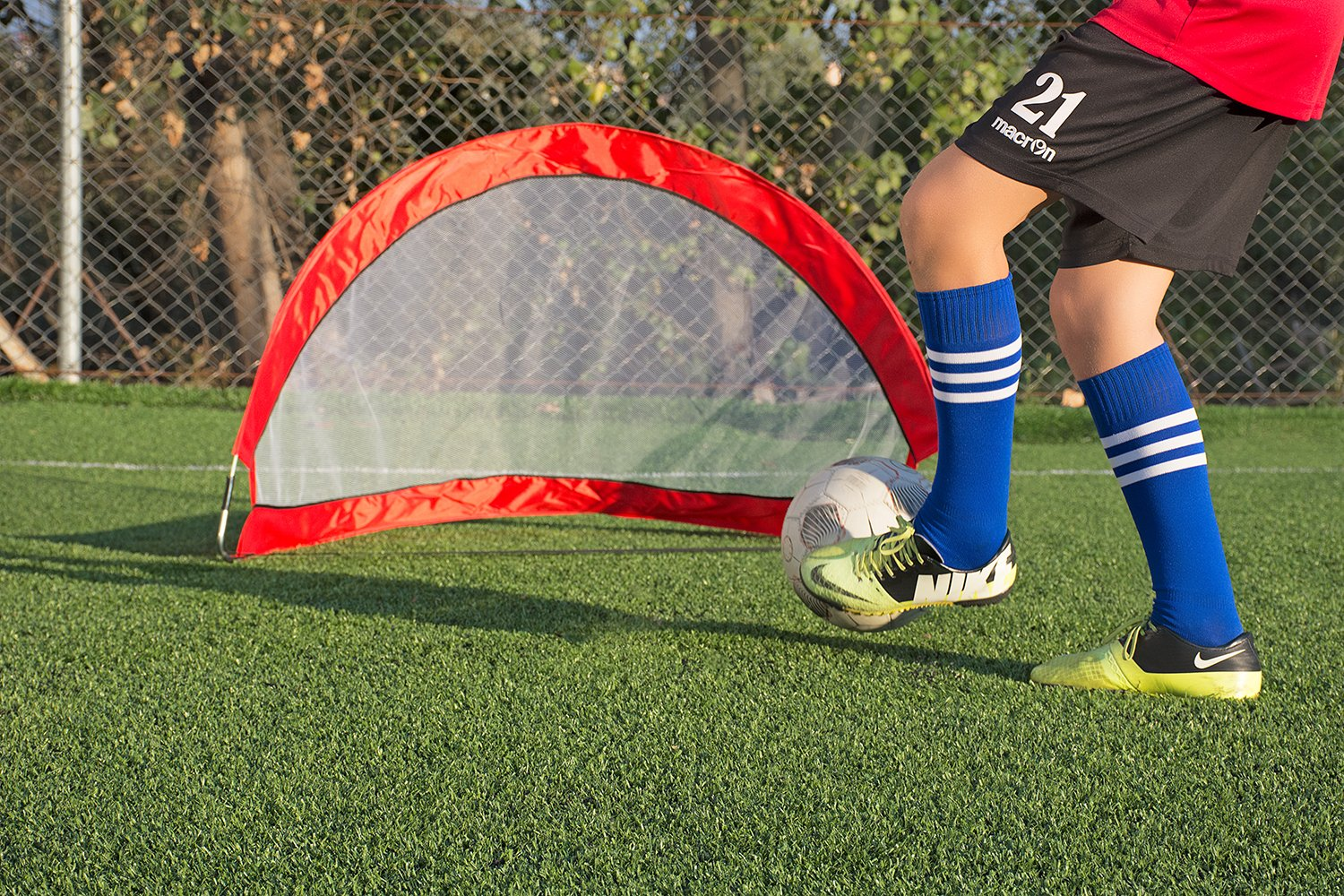 Abco Tech Portable Soccer Goal Set for Training, Practice & Game – Pop-up Soccer Net – 2 Soccer Goals, 6 Disc Cones & 8 Spikes – Carry Bag – Easy to Assemble & Store – Be it Backyard or Public Fields by Abco Tech (Image #8)