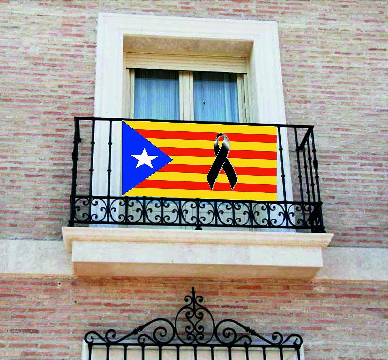 Pancarta, Bandera con lazo negro, crespón, [120x60cm] lona para balcón, Cataluña, Catalunya, Estelada: Amazon.es: Handmade