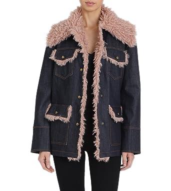 5903aae72df Avec Les Filles Women s Denim Trucker Jacket with Mongolian Faux Fur  Details at Amazon Women s Coats Shop