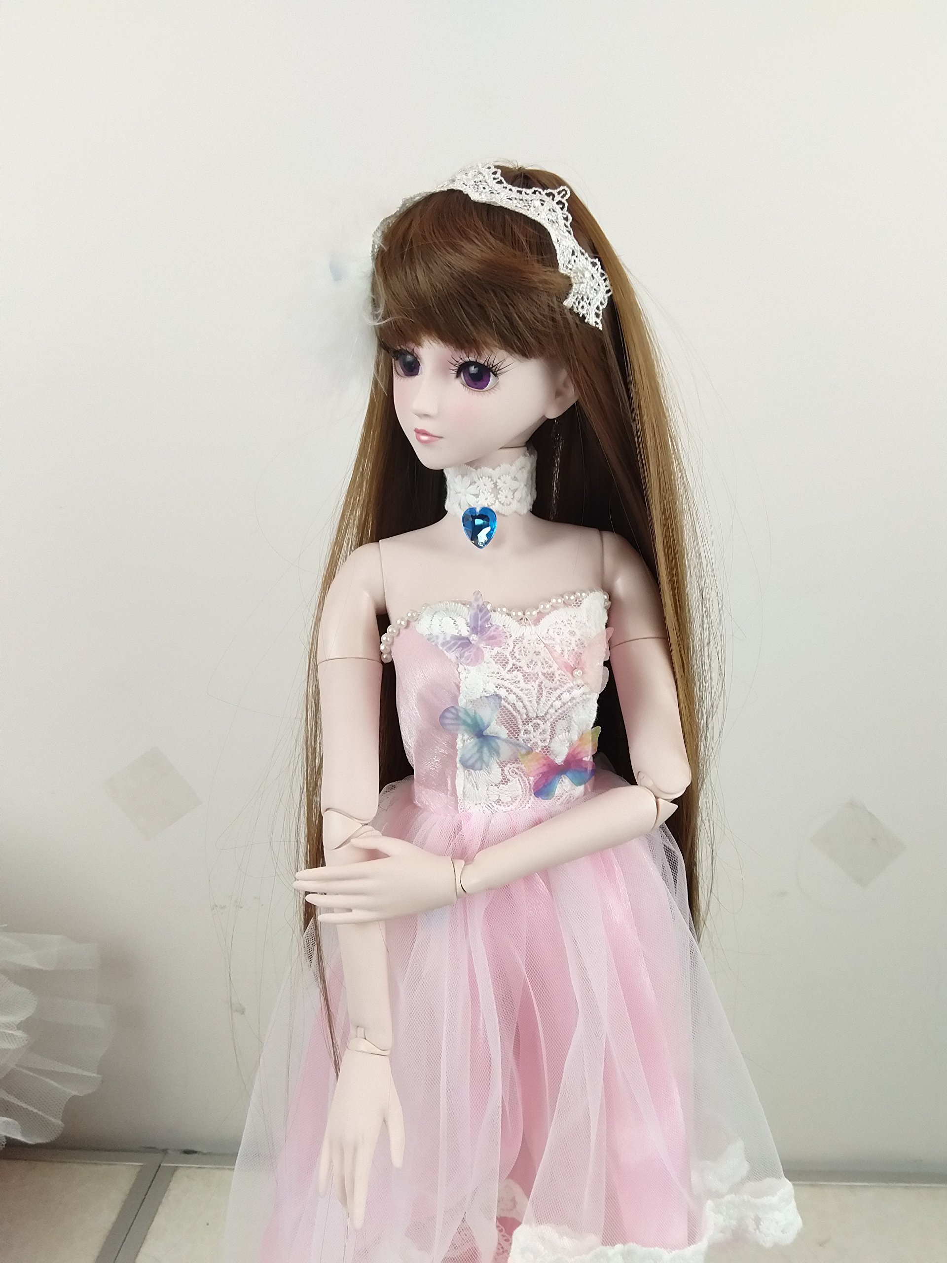 Pink Butterfly BJD Doll 1/3 Dolls 22inch 56cm 19 Joint Ball Jointed Dolls Toy Clothes + Doll + Accesssories Full Set by EVA BJD (Image #5)
