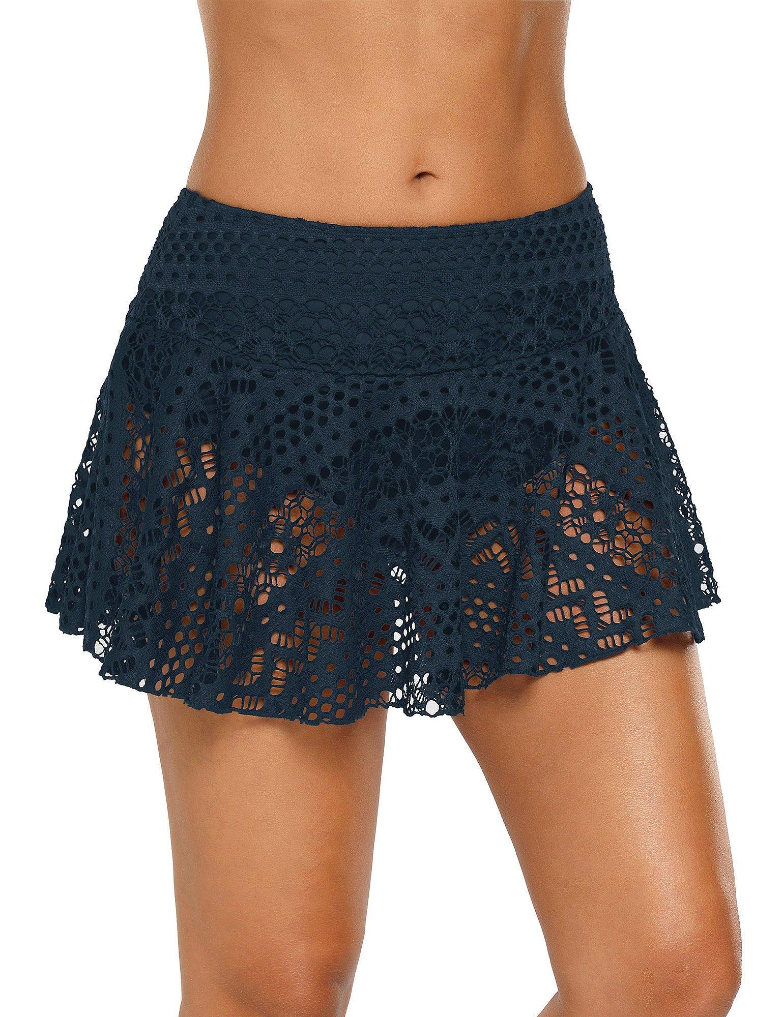 ACKKIA Women's Navy Lace Crochet Skirted Bikini Bottom with Brief Solid Short Swim Skirt Swimsuit Size XL
