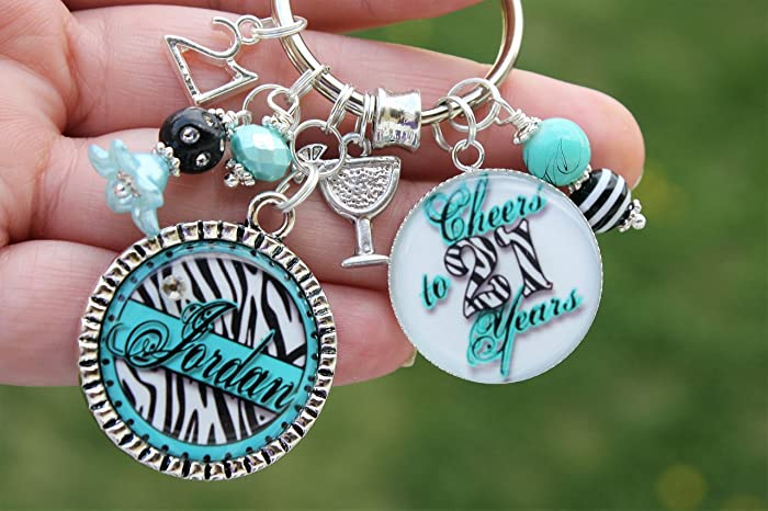 Personalized Name 21st Birthday Keychain Gift Cheers To 21 Years Twenty First Bday Accessories Custom