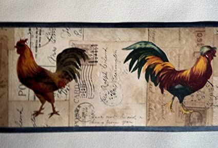 Roosters Wallpaper Border Country Farming Blue HRB4042
