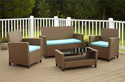 Cosco Outdoor Patio Set, 4 Piece, Brown Wicker With Teal Cushions
