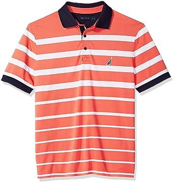 be7cbde6570 Nautica Men s Classic Fit Short Sleeve Striped Moisture Wicking Polo Shirt