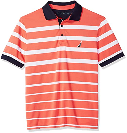 1f003b4f Nautica Men's Classic Fit Short Sleeve Striped Moisture Wicking Polo Shirt,  Dreamy Coral, S: Amazon.co.uk: Clothing
