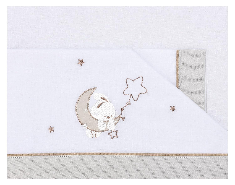 /Triptyque draps motif lune couleur blanc et lin pirulos 00913110/ 80/x 140/cm