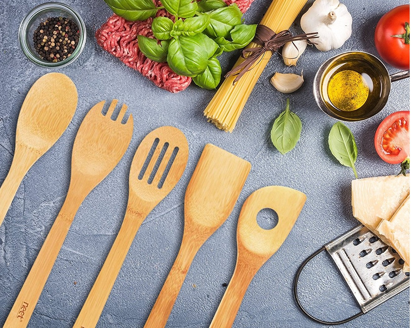 Organic Bamboo Cooking & Serving Utensil Set By Neet - 6 Piece Set | Spoon & Spatula Mix | Utensil Holder Organizer | Non Stick Wooden Kitchen Gadgets | Great Gift For Chefs & Foodies by Neet (Image #6)