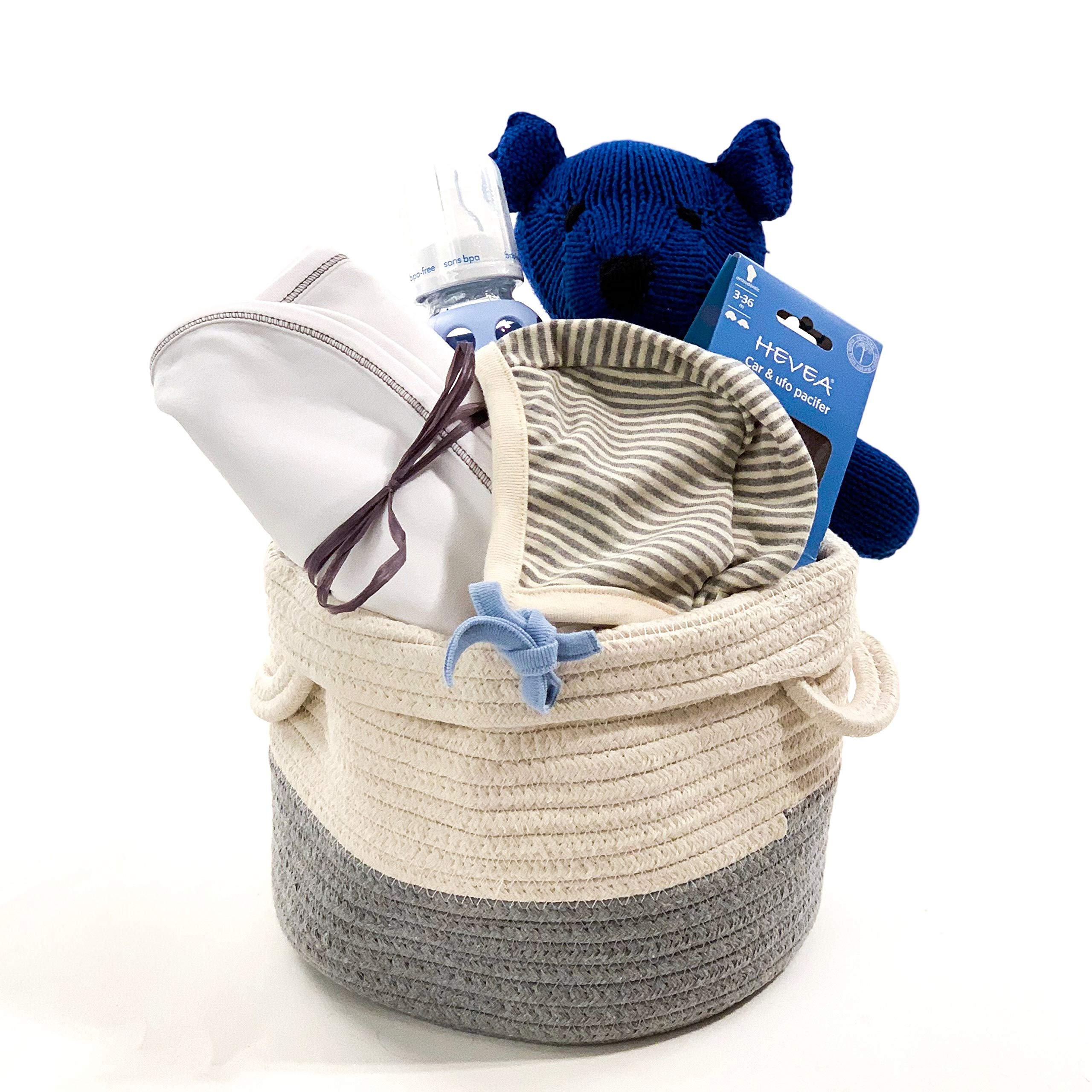 Organic Baby Girl Gift Basket - Blue & Gray Baby Shower