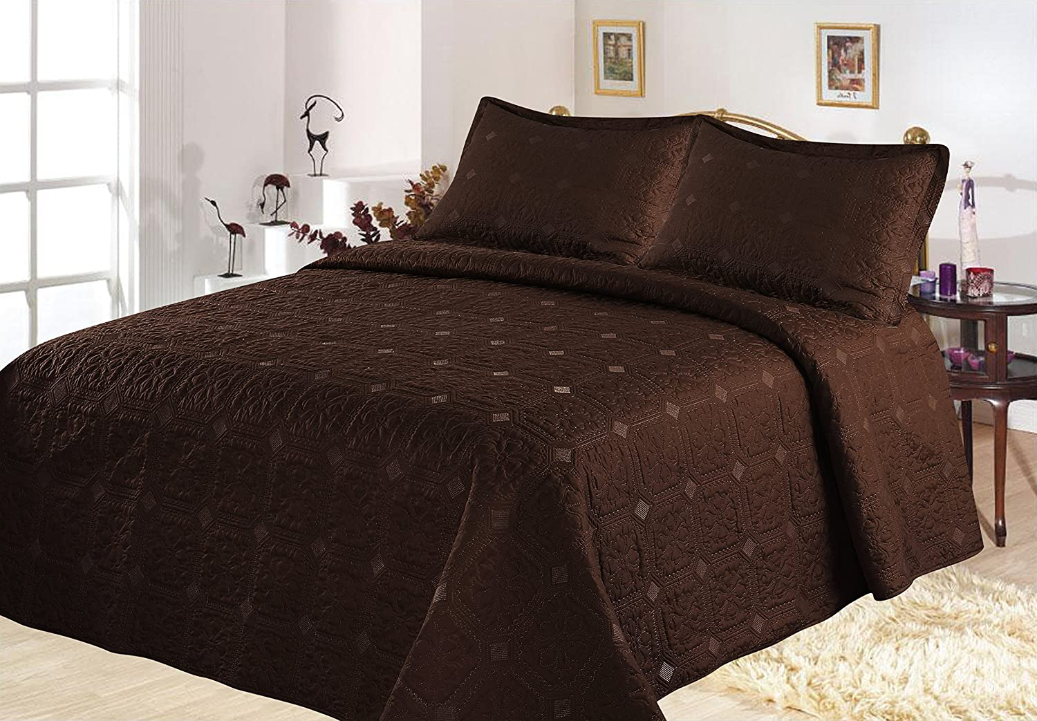 All American Collection New 3 Piece Solid Embroidered Bedspread/ Coverlet with Square Design