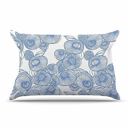 40 x 30 Fleece Blanket Kess InHouse Gill Eggleston Fenella Floral Blue White Throw