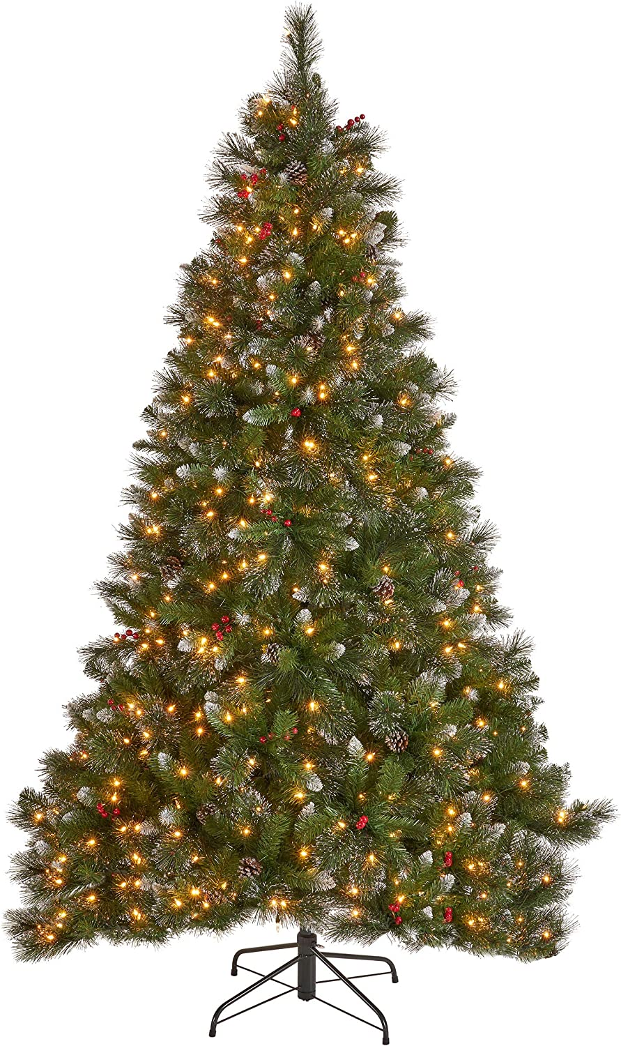 7-foot Mixed Spruce Pre-Lit Clear Light Hinged Artificial Christmas Tree with Glitter Branches, Red Berries, and Pinecones