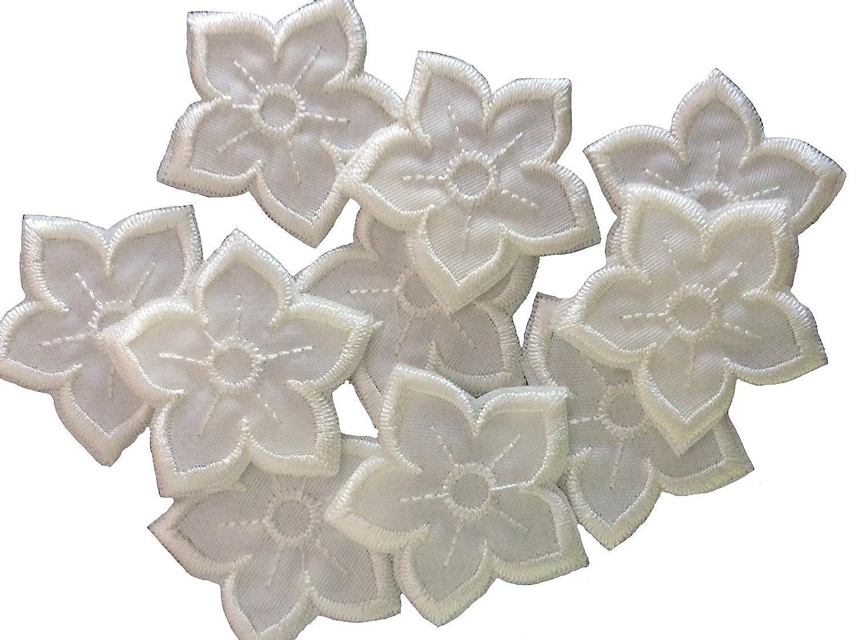Vintage tea or guest towel cotton flower appliqué embroidery