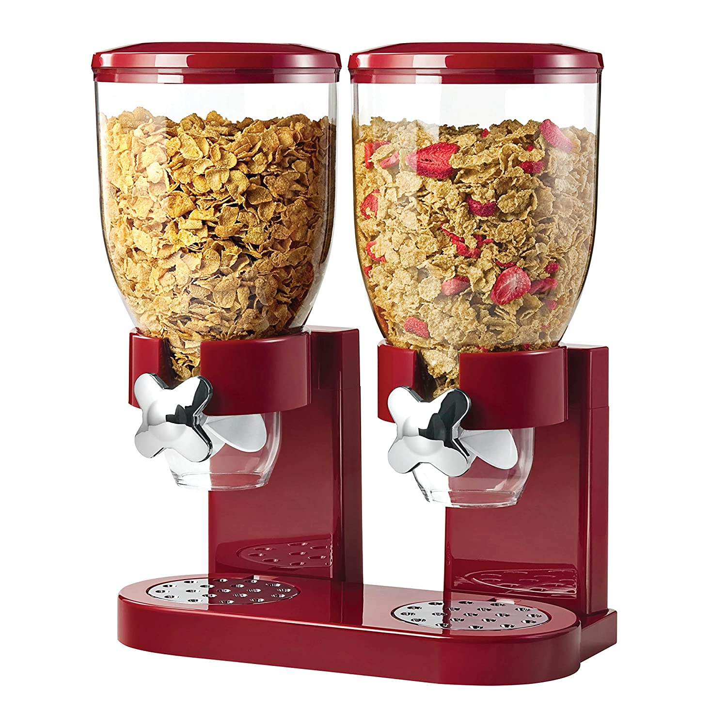 Food Dispenser Double Plastic Classic Dry Double Canister, Red/Transparent Zevro KCH-06125 Cereal Dispenser Food Storage