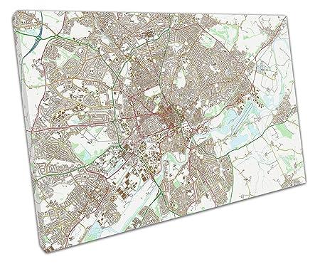 Eacanvas Nottingham England Street Map Art Canvas Wall Art 30x20